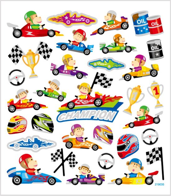 Stickers vel 15x16 5 cm 31 stuk race 1vel