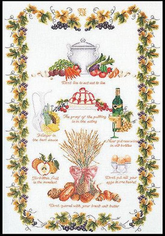 Thea Gouverneur Borduurpakket 2027A Merklap Culinair - Aida stof 100% katoen