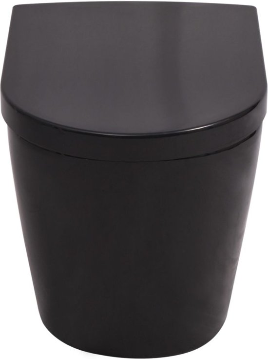 vidaXL Hangend toilet keramiek zwart
