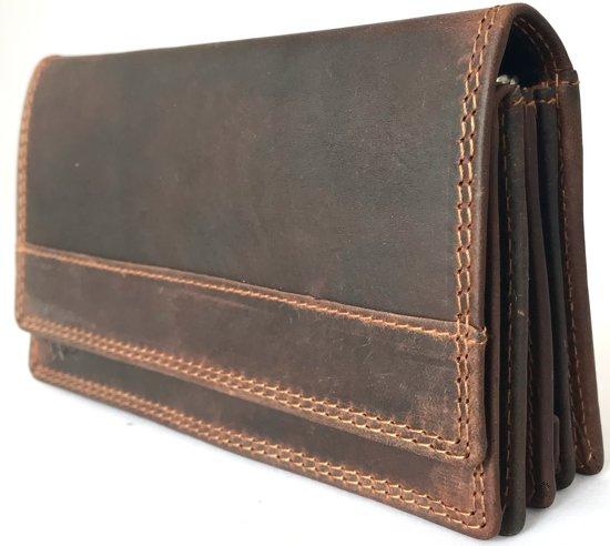 3fa1363883e Lundholm - Luxe Leren portemonnee dames leer - Overslag harmonica model -  vintage bruin