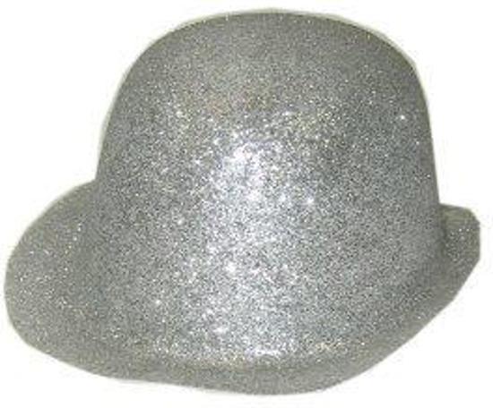 Bolhoed glitter zilver plastic