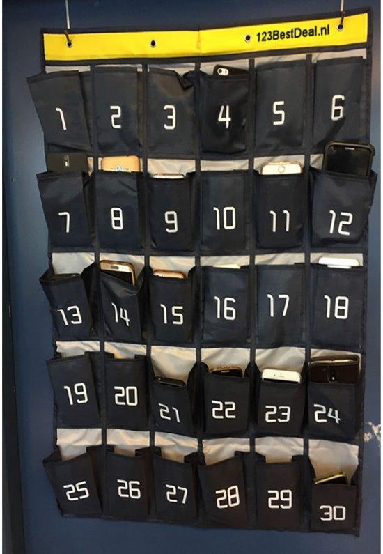 50094b2582e ... 30 vakken Telefoon tas, telefoon opbergsysteem / organizer / opbergtas  voor smartphones van leerlingen in ...