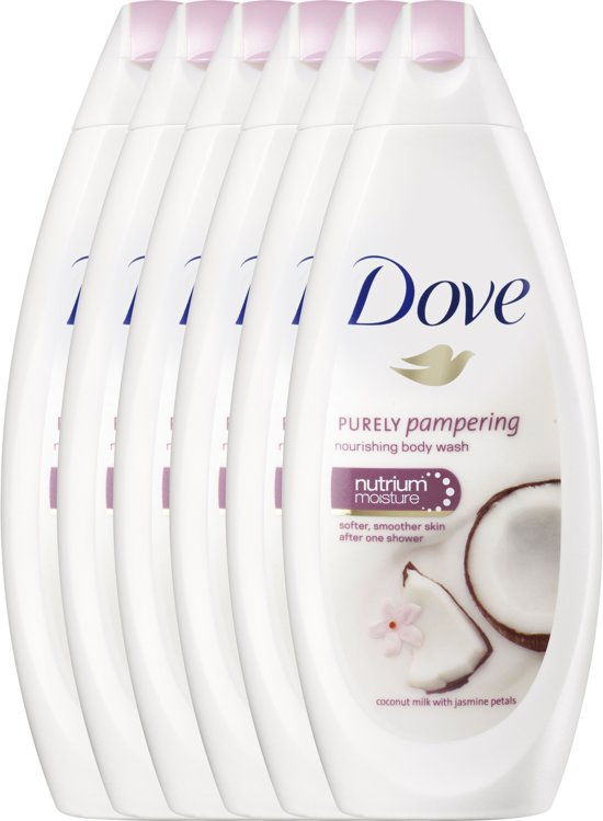 Dove Purely Pampering Kokosmelk & Jasmijnblaadjes - 6 x 250  ml - Douchecrème - Voordeelverpakking
