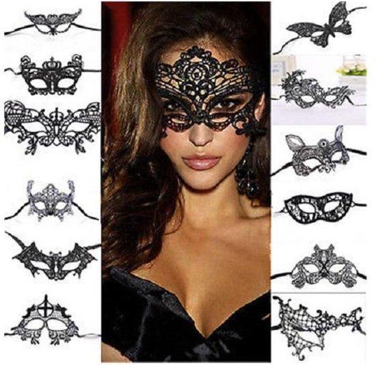 Zwarte oogmasker - Kanten oogmasker - Sexy vrouwen gezichtsmasker van zwart kant - Model Tiger