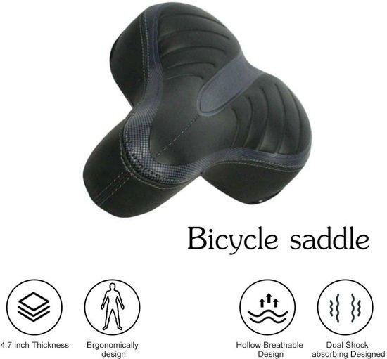 TKSTAR Comfortabele fietsstoeltje, vervanging van de fietsstoeltje met Dual Shock Absorberende bal Wide Bike Seat Memory Foam Bicycle Gel Seat