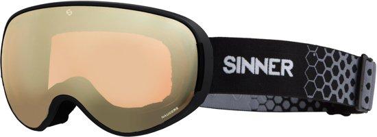 Sinner Nauders Unisex Skibril - Matte Black - Dbl Gold Mrr + Dbl Orng Sintec