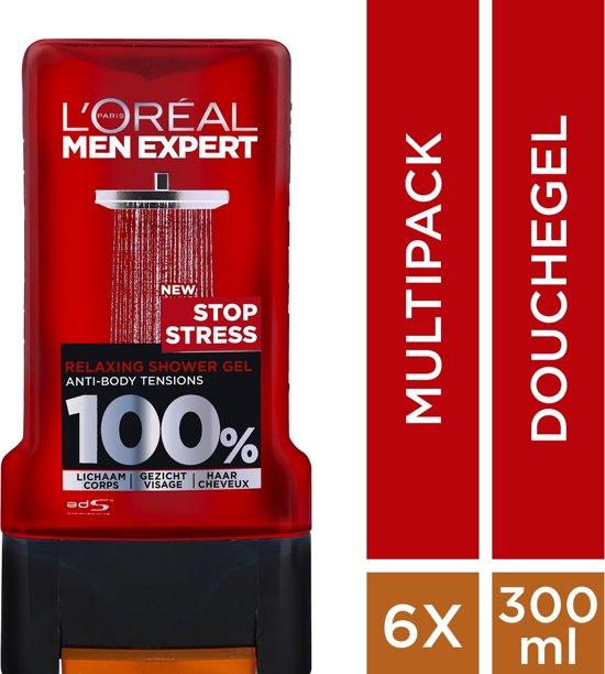 L'Oréal Paris Men Expert Stop Stress Showergel - 6 x 300 ml - Voordeelverpakking