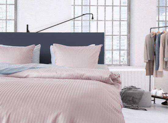 Licht Roze Dekbedovertrek : Bol zohome dekbedovertrek uni satijn stripe licht roze