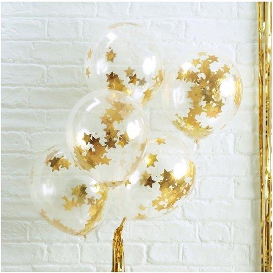 Ginger Ray Metallic Star - Ballon gevuld met gouden ster confetti Ø 28 cm - Set-5 Valentinaa