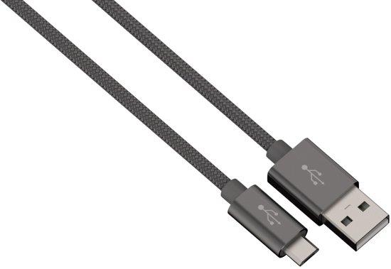 Hama Alunylon synchrokabel micro-USB-USB 1m antraciet