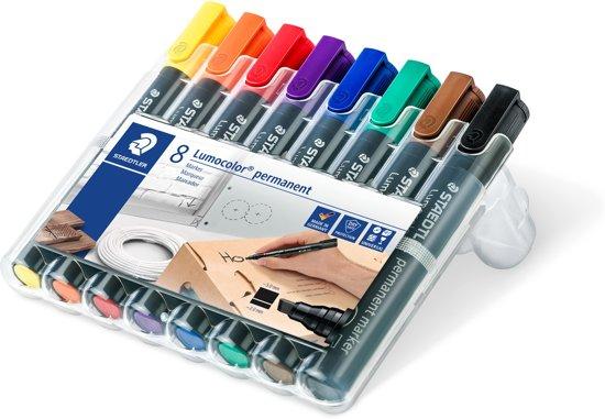 STAEDTLER Lumocolor permanent marker beitelpunt - box 8 st
