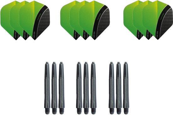 Dragon darts - Dartset - 3 sets Curve dart flights en 3 sets nylon darts shafts - 18 pcs - Groen - darts flights