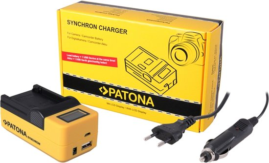 PATONA Synchron USB Charger f. Canon NB6L NB-6L Samsung with LCD in Groenendijk