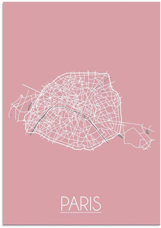 Plattegrond Parijs Stadskaart poster DesignClaud - Roze - A4 poster