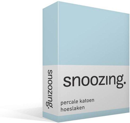 Snoozing - Hoeslaken - Percale katoen - Lits-jumeaux - 160x210 cm - Percale katoen - Hemel