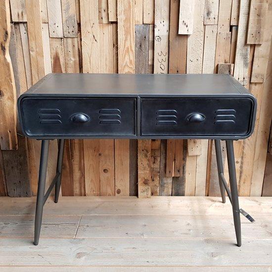 Side Table Met Lade.Bol Com Stoere Side Table Cabinet Van Metaal Met Dubbele Lade