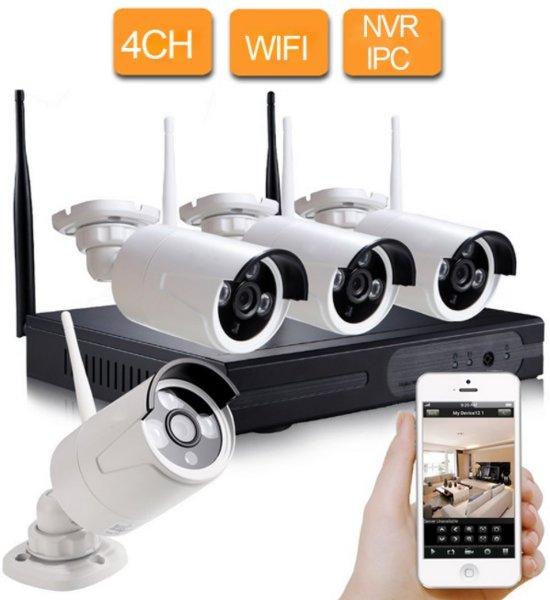 CCTV beveiligingscamera set 4 camera's draadloos WIFI buiten