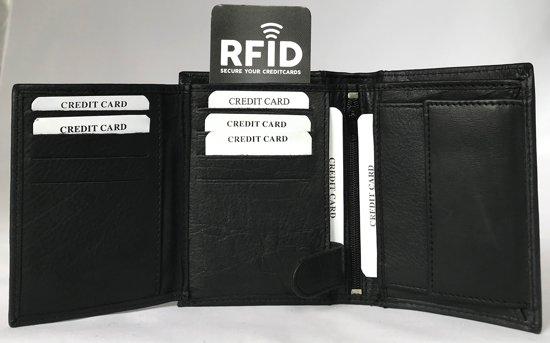 7fa8d797d90 ... Lundholm - leren billfold portemonnee heren - staand model met RFID  anti skim bescherming - zwart ...