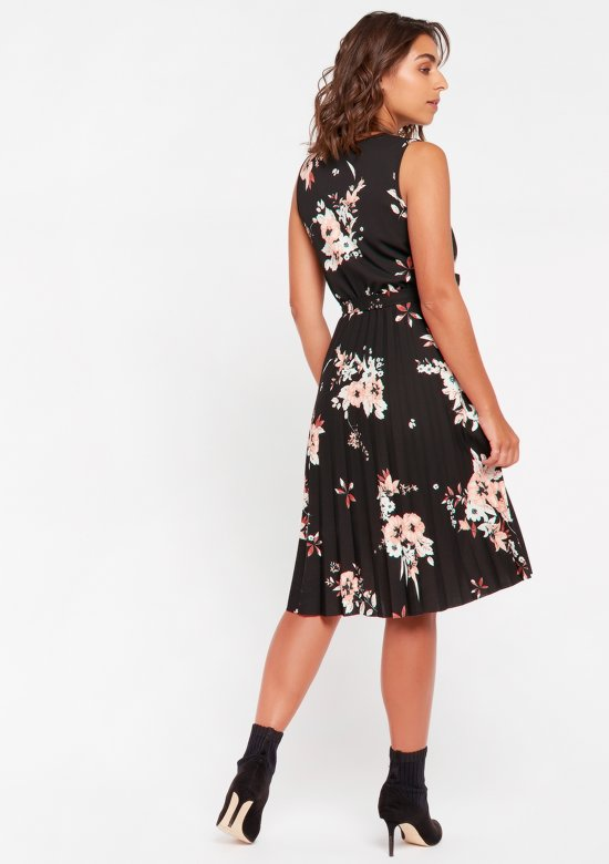 Cache-coeur jurk met bloemenprint - Zwart