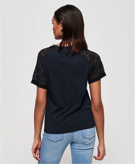 Superdry Shirt - Maat S  - Vrouwen - blauw/wit