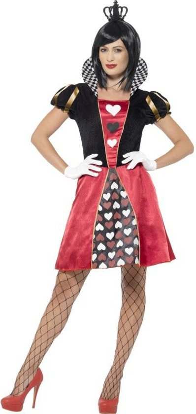 Carded Queen Costume Red with Dress Crown & Gloves