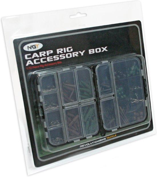 NGT Carp Rig Accessory Box Tacklebox - 17 compartimenten - 170 stuks - Bruin
