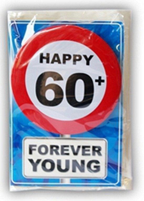 kaart 60 jaar bol.| Happy Birthday kaart met button 60 jaar, Merkloos  kaart 60 jaar