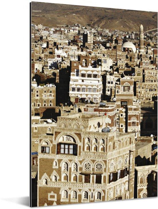 Traditionele Jemenitische huizen in binnenstad van Sanaa Aluminium 120x180 cm - Foto print op Aluminium (metaal wanddecoratie) XXL / Groot formaat!