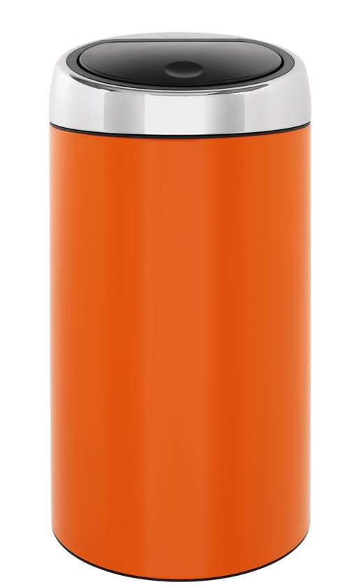Brabantia Touch Bin Chroom.Brabantia Touch Bin Prullenbak 45 L Chrome Orange Met Brilliant Steel Deksel