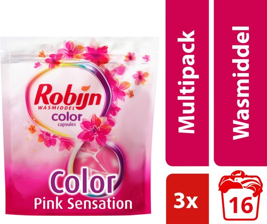 Robijn Color Pink Senstation Capsules - 48 wasbeurten - 3 x 16 stuks - Wasmiddel - Voordeelverpakking