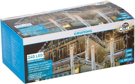 LED ijspegel verlichting helder warm wit (240 LED 4,7 Meter)