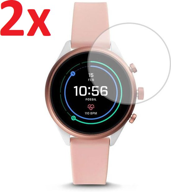 Tempered Glass Screenprotector Voor Fossil Sport Gen 4S 41mm (Dames) Smartwatch Horloge - Screen Protector Ultradun Gehard Glas - Set Van 2 Stuks