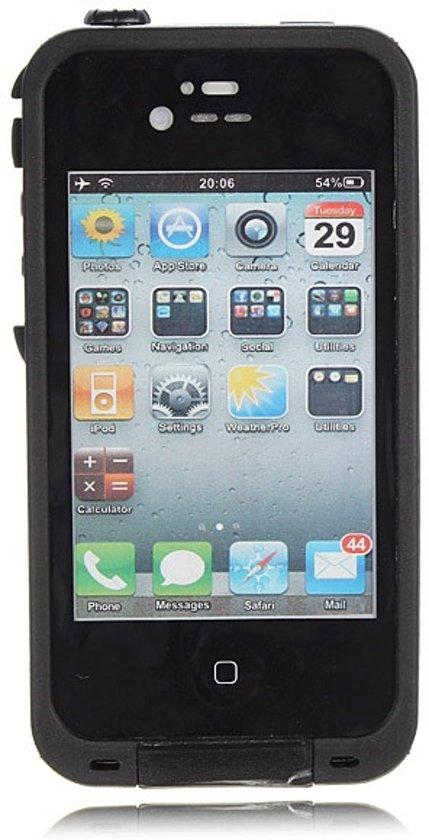 iPhone 4 4S Waterproof Shockproof Dustproof Case alle Knoppen Functioneel Waterdicht Hoesje Zwart