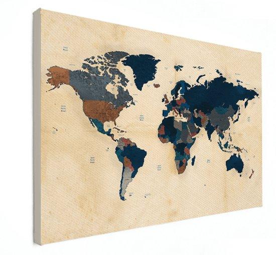 Wereldkaart Schilderij Vintage op Canvas Historisch groot 120x80 cm | Wereldkaart Canvas Schilderij