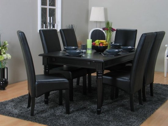 Eettafel Met 6 Witte Stoelen.Mozart Giessen Eethoek Met 6 Stoelen 100x180 Cm Zwart