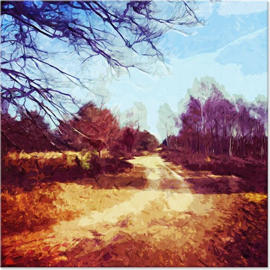 Canvas schilderij landschap natuur herfst 100x100 cm for Schilderij natuur