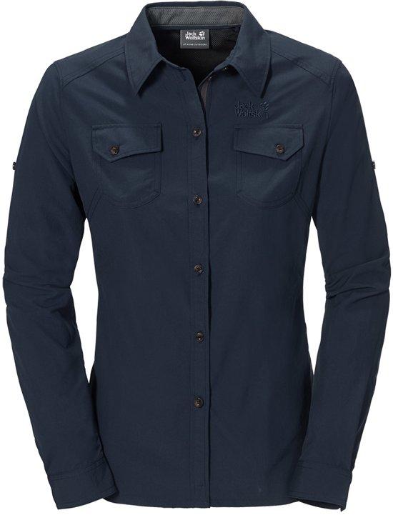 blauwe blouse lange mouw