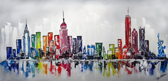 Schilderij new york skyline schilderijen for Skyline schilderij