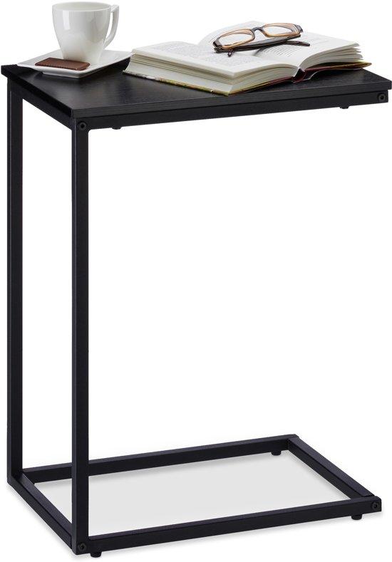 Bijzettafel Bol Com.Relaxdays C Bijzettafel Metaal Salontafel Houten Tafelblad Siertafel Zwart 61cm Hoog