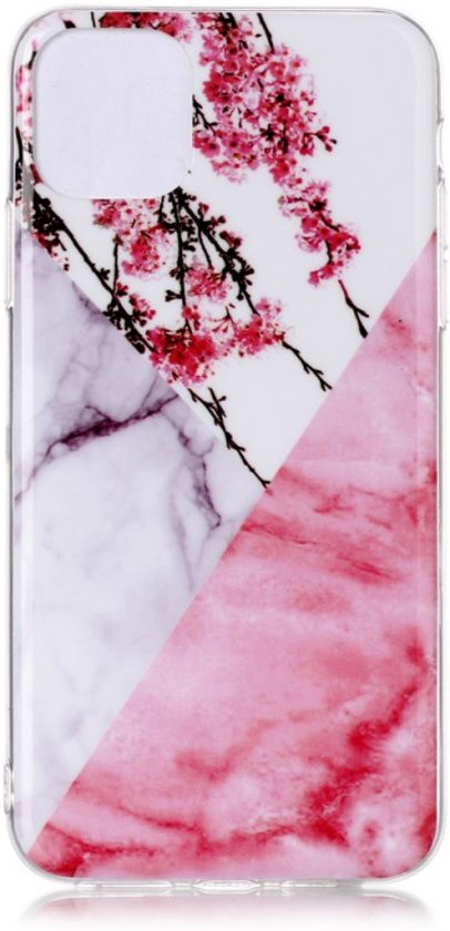 iPhone 11 Pro Max (6,5 inch) - hoes, cover, case - TPU - Marmer met bloemen