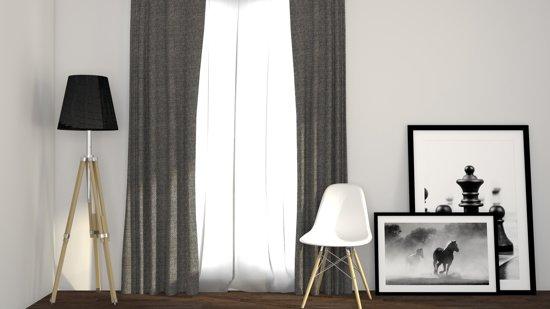 bol.com | Luxe geweven blackout gordijn met ringen – grijs 1.5x2.5m ...