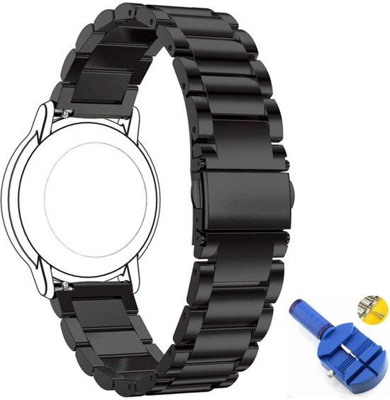 Universele Metalen Armband Voor Fossil Q 22MM Horloge Band Strap - Schakel Polsband RVS - Zwart