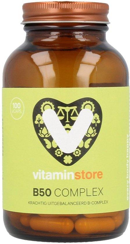 Vitaminstore - B 50 complex - 100 vegicaps - Krachtig uitgebalanceerde B vitaminen!