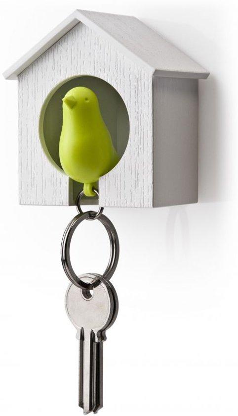 Qualy sleutelhouder vogelhuisje Sparrow - Kleur - Wit - Groen