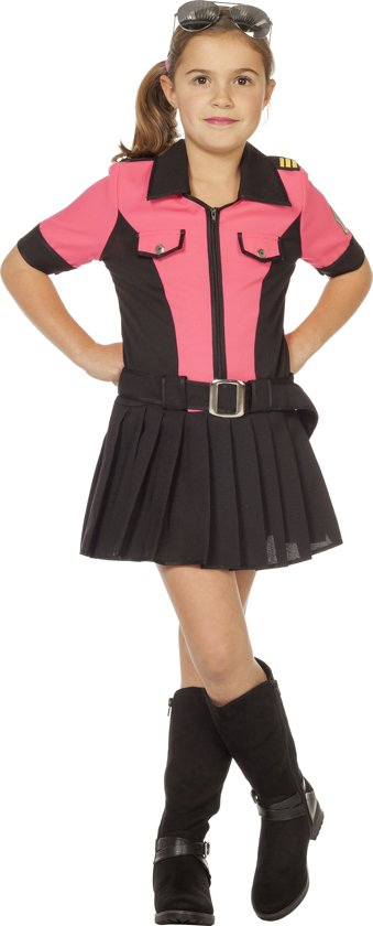 Pink Police zwart/roze politiejurk jurk voor kind