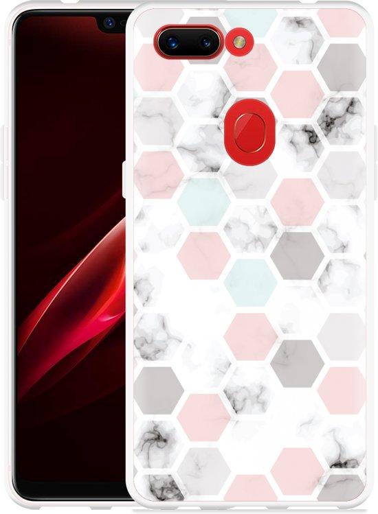 Oppo R15 Pro Hoesje Marmer Honeycomb