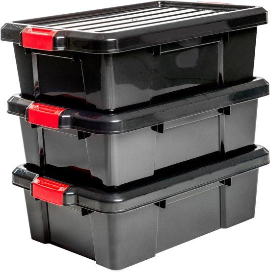 IRIS Powerbox opbergboxen - 25 l - Kunststof - Zwart/rood - 3 stuks