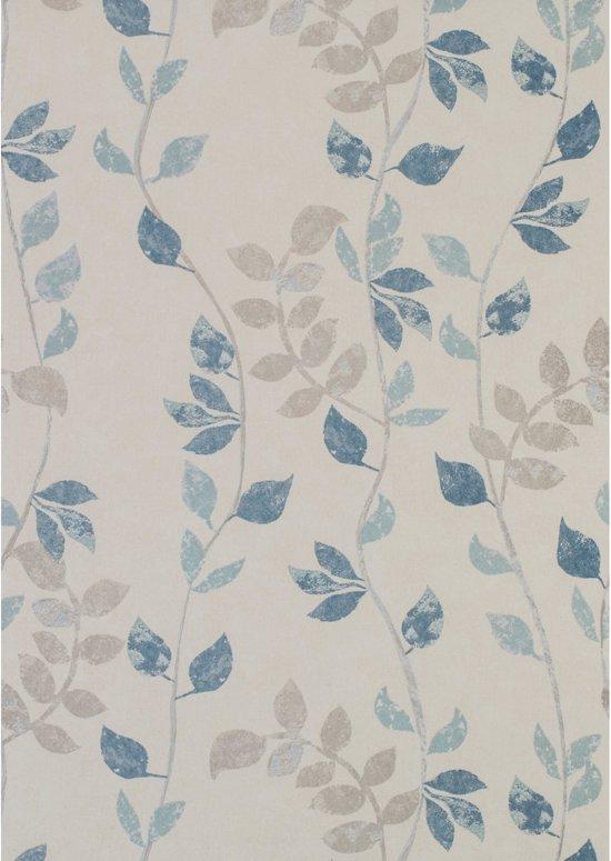 Fabulous bol.com | Sylvander bladeren beige/blauw behang (vliesbehang, blauw) XF24