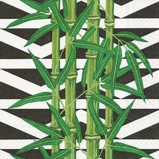 60x Servetten met botanische bamboe print 33 x 33 cm - Feest/party servetten met urban jungle print