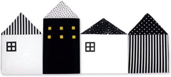 Baby Bed Bumper Huisjes | Hoofdbeschermer 100 cm Zwart Babybedje